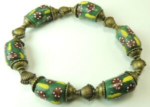 African  Trade   Bead  Green & Red Stretch  Bracelet Handcrafted