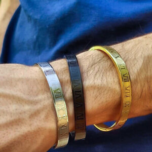Luxury Men Gold Stainless Steel Roman Numeral Cuff Wristband Bangle Bracelets