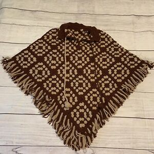 Handmade Crochet Afghan Fringe Cape Poncho Wrap Brown Tan One Size Fits Most