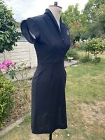 VINTAGE SIZE 8 BLACK DIAMONTI DRESS SIZE 70S COLLAR BUTTONS FITTED PENCIL SLIT