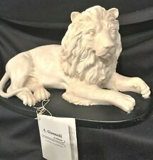 Lying Majestic Lion Alabaster Marble Italy Sculpture Signed Artist A. Giannelli