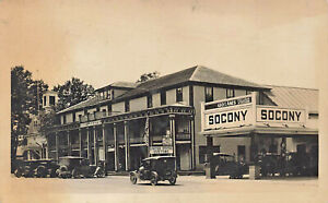 Derby VT Socony Gas Station United States Customs Old Cars Real Photo Postcard