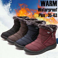 Women's Winter Warm Shoes Snow Boots Fur-lined Slip On Ankle Shoes Waterproof