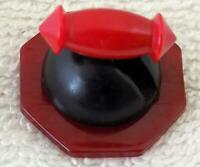 """Carved Bakelite Cookie Button Snack 3 Buttons Stacked 1-1/8"""" DIY Hat Pin Brooch"""