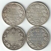 4 X CANADA 25 CENTS QUARTERS KING GEORGE V SILVER COINS 1919 1920 1928 1929