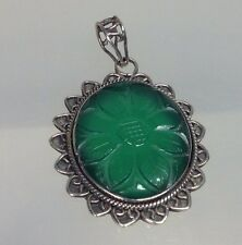 Vintage Sterling Silver Carved Green Jade Sunflower Pendant 2 1/8""