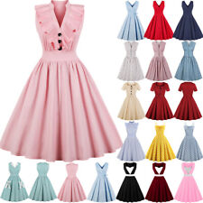 UK Womens Button Vintage 1950s 60s Rockabilly Evening Prom Swing Dress Plus  Size b7ce503280c