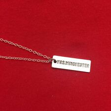 """""""Mrs. Winchester"""" Name Plate Silver Charm Necklace. Supernatural Jewelry."""