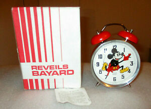 MICKEY MOUSE 1977 ALARM CLOCK  REVEILS BAYARD   NEW IN BOX  WALT DISNEY ANIMATED