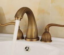 Antique Brass 3 Holes Double Handle Widespread Bathroom Sink Faucet  fan027