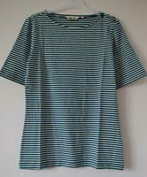 NEW EX SEASALT UK 8 - 20 BLUE WHITE  COTTON  STRIPED JERSEY TOP