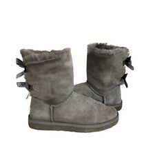 UGG Australia Bailey Bow Boots Women's Silver Grey Fur Lined UK Size: 5.5