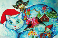 CHRISTMAS CAT with Owl Birds Child and House Interesting Modern Russian postcard
