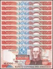 Uruguay 5,000 (5000) Nuevos Pesos X 10 Pieces (PCS), 1989, P-65, UNC