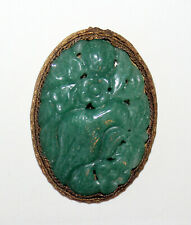 Antique Hand Carved Green Jade Jadeite FLOWER & BIRD Pendant in Filigree Setting