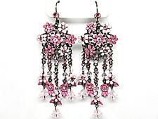 3v Vintage Victorian Floral Look Rose Pink Flower & Crystal Leverback Earrings