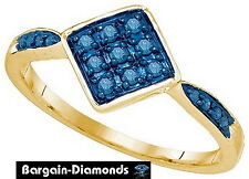 ring .20-carat party right-hand love promise blue diamond 10K gold kite square