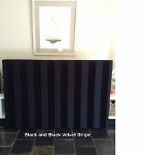 FUN BEDHEADS Queen Size Black and Black Velvet Stripes Upholstered Bedhead