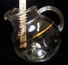 Vintage Clear Glass Tilted Pitcher Wide Thin Gold Tone Band Decoration