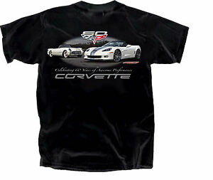 Corvette 60th Anniversary 100% Cotton Preshrunk Black T-Shirt C1,'53 - C6, 2013