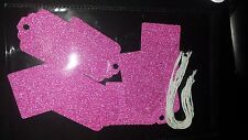 12 Luxury Gift Tags Glitter Pink Christmas Birthday Wedding Party