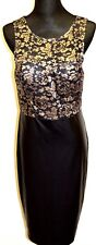 NEW! Gold and Black Mesh and Leather Effect Dress - Size 12