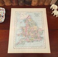 Original 1886 Antique Johnson Engraved Map ENGLAND WALES Great Britain London