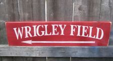 WRIGLEY FIELD VINTAGE LOOK  WOOD SIGN BASEBALL HAND PAINTED DIRECTIONAL CUBS
