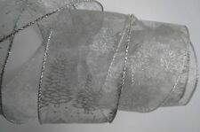 Wired Ribbon Silver Organza Printed w/ Silver Christmas Trees ~ Glittery Shimmer