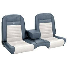 Deluxe PONY Seat Upholstery Ford Mustang Coupe Front/Rear Bench - Blue & White