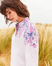 Joules Womens Jeanne Printed Long Line Linen Shirt - White