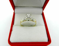 Vintage Two Tone 14k Gold Natural Diamond Engagement Ring size 7