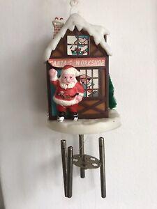 Vintage Plastic Christmas Santas Workshop Wind Chime Decoration Retro Kitsch