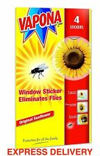 Vapona Fly Killer Trap Window Sticker Original Sunflower Catcher (Pack of 4)
