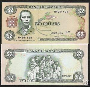 JAMAICA 2 DOLLARS P69 1993 STREAMER UNC x 10 Pc Lot Bundle TRAIL BIRD MONEY NOTE