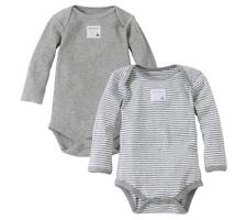 2 Burt's Bees Organic Bodysuits 3-6 Months Boys Gray Striped Lot Baby NWT