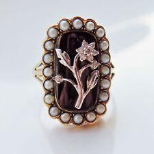Stunning Antique Victorian 9ct Gold Diamond Pearl & Enamel Mourning Ring c1880