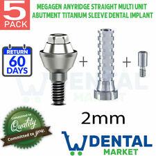 X 5 Megagen Anyridge Straight Multi 2mm Abutment Titanium Sleeve Dental Implant