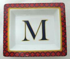 """Gondinger """"M"""" monogram initial Trinket Dish red, blue, white NEW"""