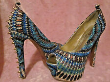 "Platform Stilettos w/Gold Spikes Bright Colored 5M Green Blue Tan & 5.5"" Heels"