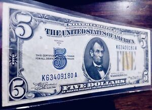 **RARE** $5 1934 ⭐️NORTH AFRICA YELLOW SEAL⭐️SILVER CERTIFICATE! CRISPY/CLEAN!