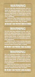 TB Football Helmet Warning Labels Lot of 5 White on Clear