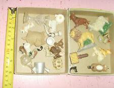 Card box full of miniatures trinkets dollhouse animals figurines vintage - now