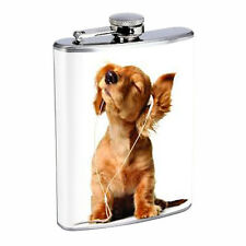 FUNNY DOG D 02 STAINLESS STEEL 8oz FLASK WHISKEY DRINKING