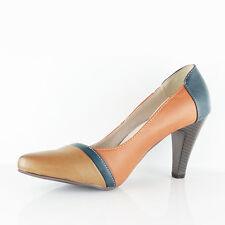 Womens Ladies Low Mid High Block HEELS Pump Work Court Shoes Sandals Size 3-8 UK 6 Brown-khaki-navy