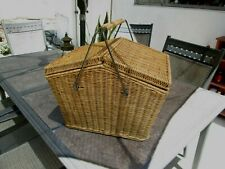 Large Classic Wicker Picnic Food Basket has metal reinforced body and handle