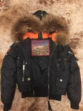 Dsquared down jacket hood fur sz. 38 blue
