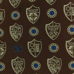 Skinny Brown Beige Crest VALENTINO Silk Tie