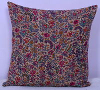 """16"""" BEIGE KANTHA INDIAN CUSHION PILLOW THROW COVER Ethnic Embroidery Indian Art"""