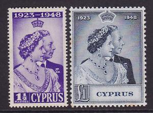 Cyprus. 1948. SG 166 & 167, Silver wedding. Mounted mint.